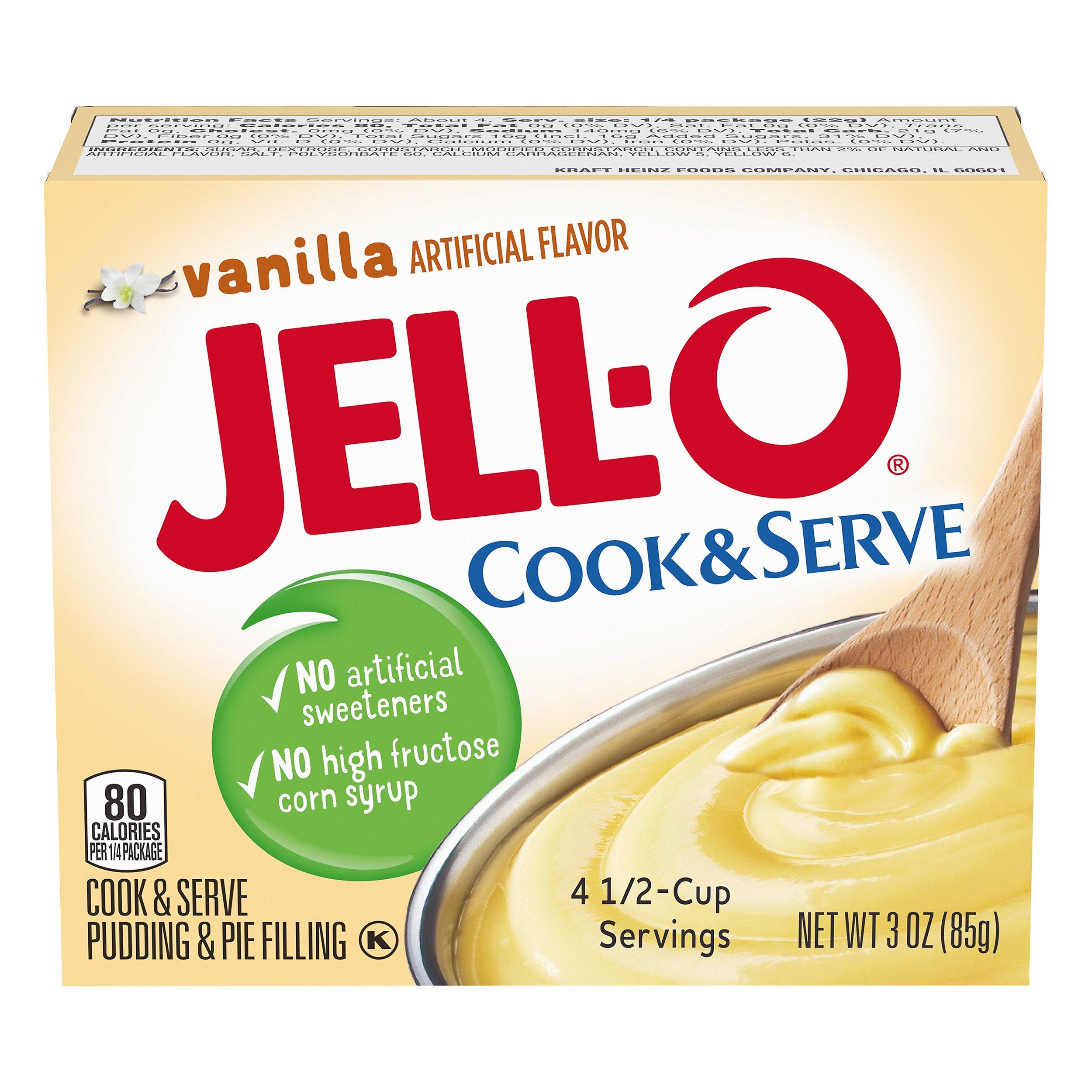 JELL-O Vanilla Cook & Serve Pudding Mix 3 OZ     24-Pack