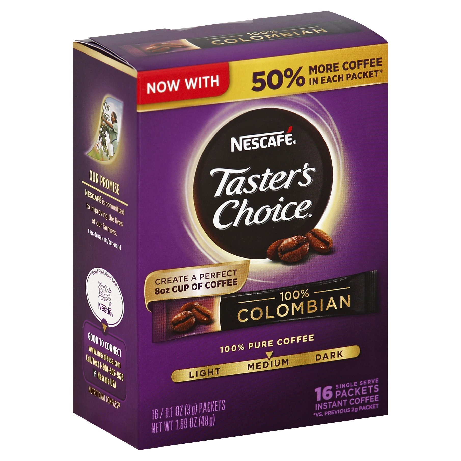 Tasters Choice Columbian Instant Coffee 1OZ 8-Pack