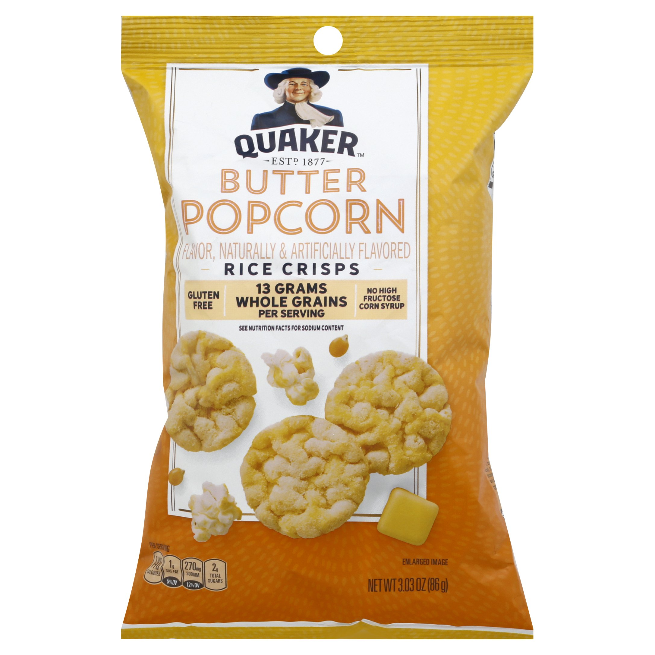Quaker Popped Buttered Popcorn Rice 3OZ 12-Pack